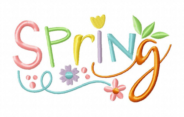 Spring Word Art Free 4X4 & 5X7 Machine Embroidery Design