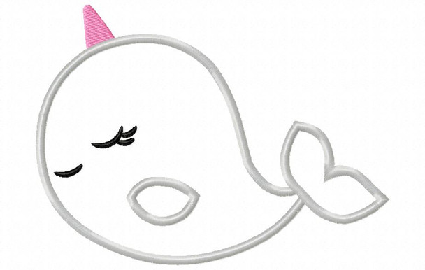 Narwhal Applique 4X4 & 5X7 Machine Embroidery Design