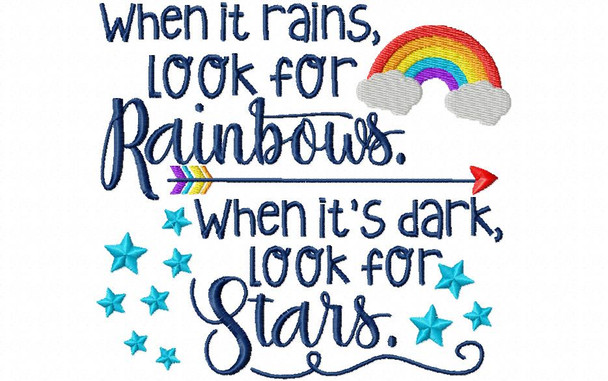 When It Rains Look For Rainbows Word Art 4X4 & 5X7 Machine Embroidery Design