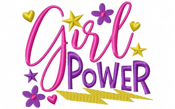 Girl Power Word Art 4X4 & 5X7 Machine Embroidery Design
