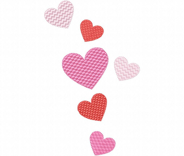 Multiple Hearts  Valentine's Day Free Design 4X4, 5X7 & 6X10 Machine Embroidery Design
