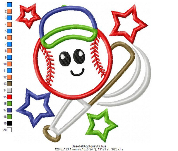 Cute Baseball and Bat Applique 4X4, 5X7 $ 6X10 Machine Embroidery Design