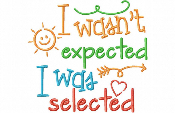 I Wasn't Expected I Was Selected Adoption Word Art MACHINE EMBROIDERY DESIGN 4X4, 5X7 & 6X10