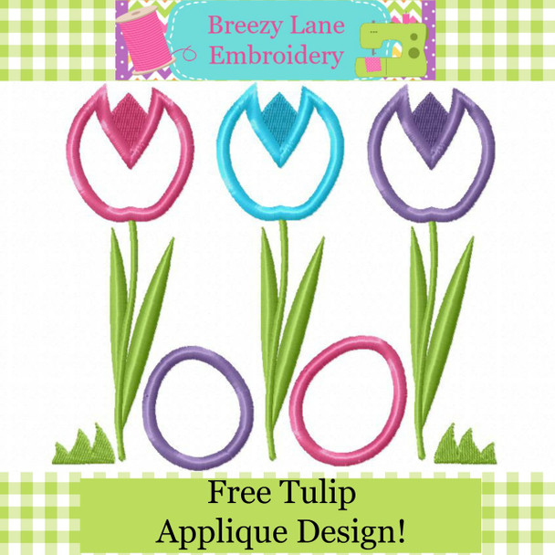 Spring Tulips Free Easter Applique MACHINE EMBROIDERY DESIGN 4X4, 5X7 & 6X10