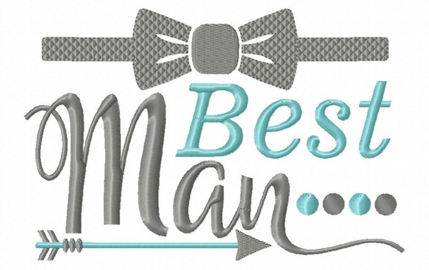 Best Man Wedding Word Art MACHINE EMBROIDERY DESIGN 4X4, 5X7 & 6X10