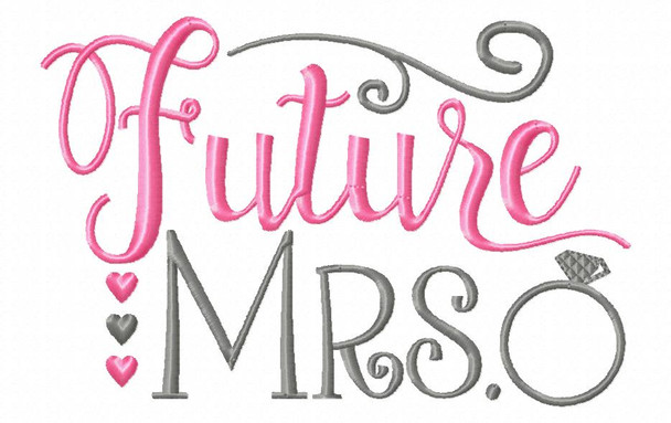 Future Mrs Wedding Word Art MACHINE EMBROIDERY DESIGN 4X4, 5X7 & 6X10