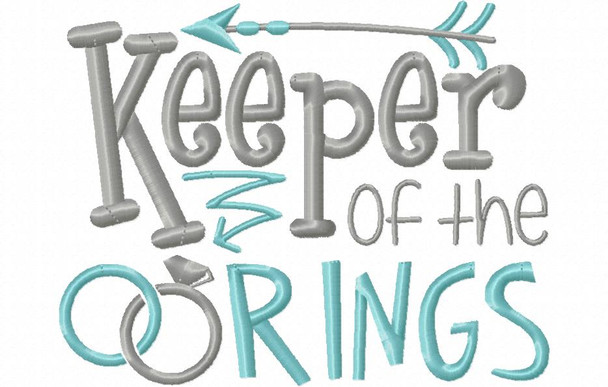 Keeper Of The Rings Wedding Word Art MACHINE EMBROIDERY DESIGN 4X4, 5X7 & 6X10