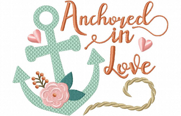 Anchored in Love Beach Wedding Word Art MACHINE EMBROIDERY DESIGN 4X4, 5X7 & 6X10