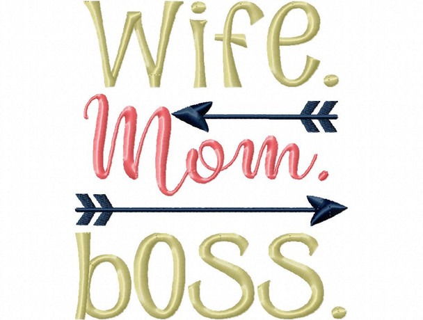 Wife, Mom, Boss Funny Mother's Day Fishing Word Art MACHINE EMBROIDERY DESIGN 4X4, 5X7 & 6X10