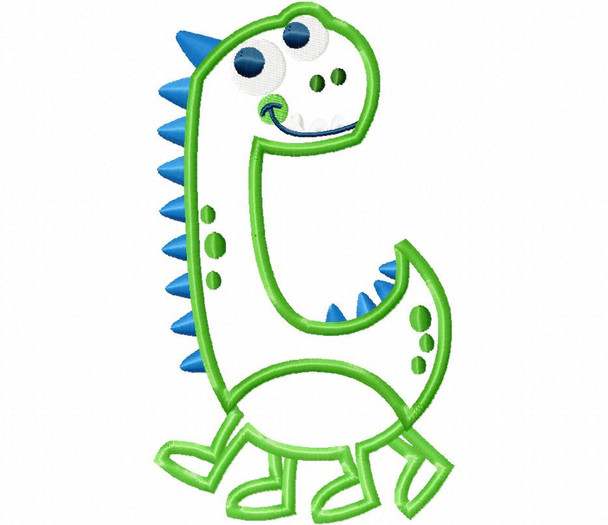 Little Dinosaur Applique MACHINE EMBROIDERY DESIGN 4X4, 5X7 & 6X10