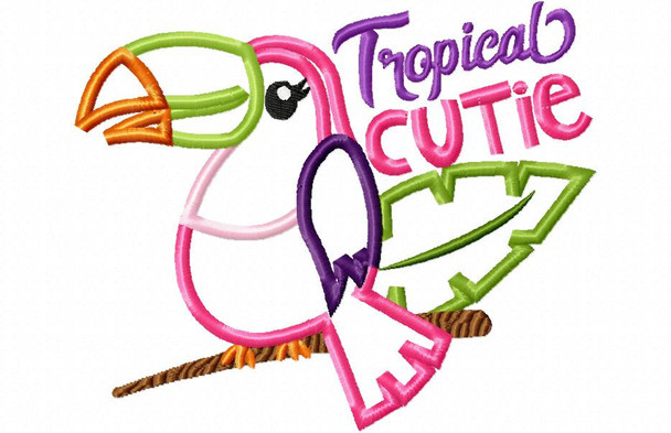 Toucan Applique Tropical Cutie Word Art MACHINE EMBROIDERY DESIGN 4X4, 5X7 & 6X10