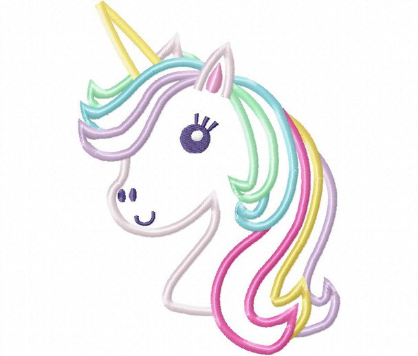 Unicorn Applique MACHINE EMBROIDERY DESIGN 4X4, 5X7 & 6X10
