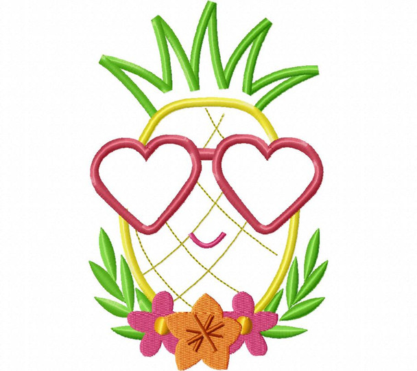 Glasses Pineapple Applique Summer Word Art MACHINE EMBROIDERY DESIGN 4X4, 5X7 & 6X10