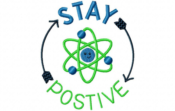 Stay Positive Nerd, Geek Word Art MACHINE EMBROIDERY DESIGN 4X4, 5X7 & 6X10