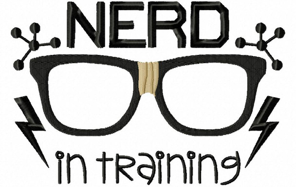 Nerd In Training Nerd, Geek Word Art MACHINE EMBROIDERY DESIGN 4X4, 5X7 & 6X10