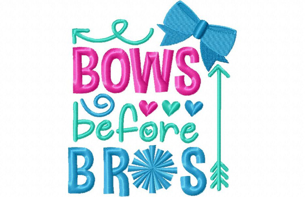 Bows Before Bros Cheerleading Word Art 4X4 & 5X7 Machine Embroidery Design