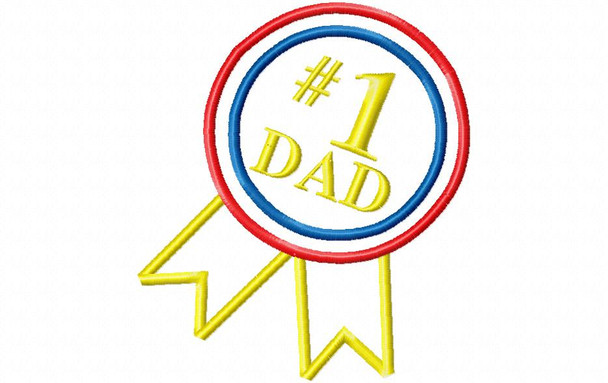 #1 Dad Father's Day Applique Design 4X4, 5X7 & 6X10 Christmas Free Machine Embroidery Design