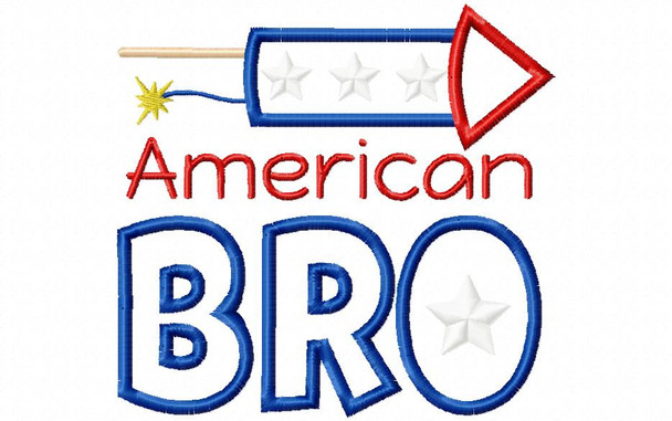 American Bro Boy's 4th of July Applique Word Art Machine Embroidery Design 4X4, 5X7 & 6X10