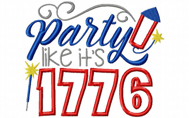 Party Like It's 1776 4th of July Applique Word Art Machine Embroidery Design 4X4, 5X7 & 6X10