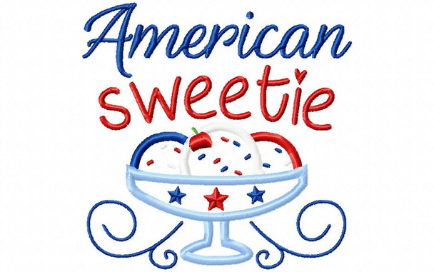 American Sweetie of July Applique Word Art Machine Embroidery Design 4X4, 5X7 & 6X10