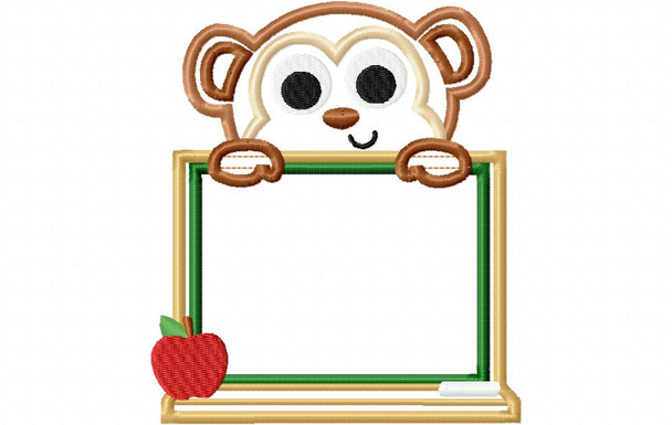 Chalkboard Monkey Back to School Applique Machine Embroidery Design 4X4, 5X7 & 6X10