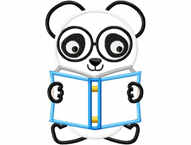 Reading Panda Back to School Applique Machine Embroidery Design 4X4, 5X7 & 6X10
