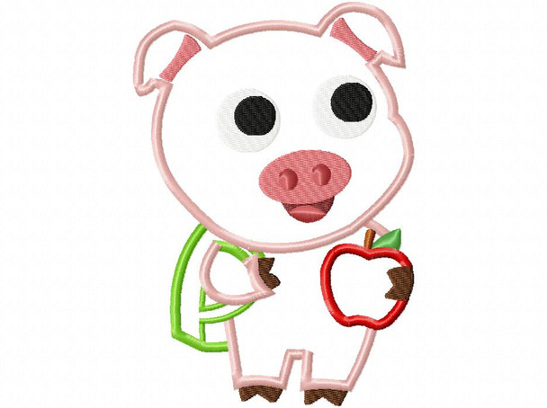 School Pig Back to School Applique Machine Embroidery Design 4X4, 5X7 & 6X10