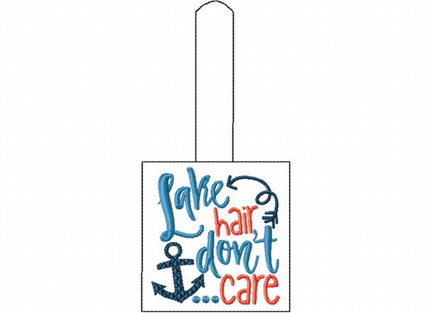 Lake Hair Don't Care Snap Tab In The Hoop Machine Embroidery Design 5X7