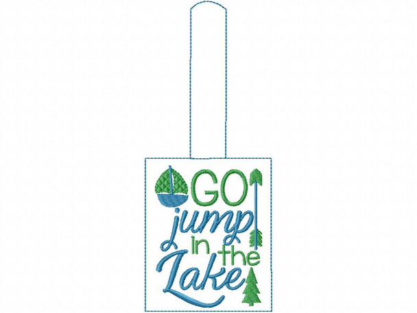 Go Jump In The Lake Snap Tab In The Hoop Machine Embroidery Design 5X7