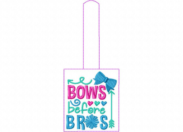 Bows Before Bows Cheerleading Snap Tab In The Hoop Machine Embroidery Design 5X7