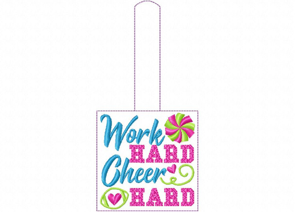 Work Hard Cheer Hard Cheerleading Snap Tab In The Hoop Machine Embroidery Design 5X7