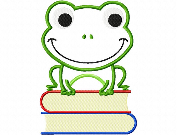Book Frog School Applique Machine Embroidery Design 4X4, 5X7 & 6X10