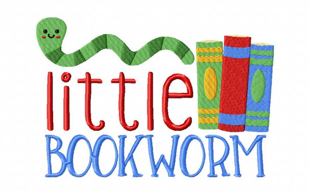 Little Bookworm Back to School Machine Embroidery Design 4X4, 5X7 & 6X10