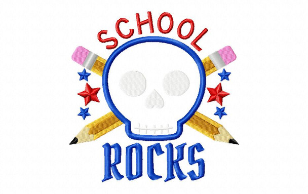 School Rocks Applique Back to School Machine Embroidery Design 4X4, 5X7 & 6X10