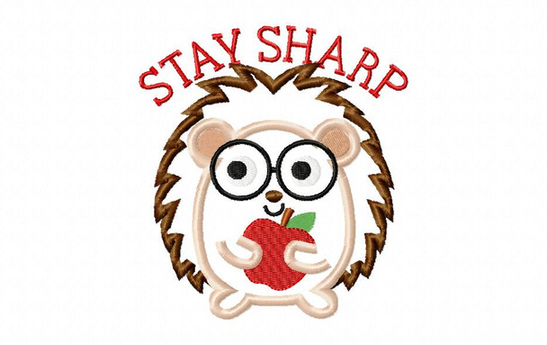 Hedgehog Stay Sharp Applique Back to School Machine Embroidery Design 4X4, 5X7 & 6X10