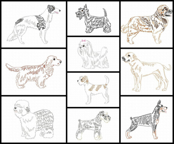 Dog Breeds Set 4 Line Art Set MACHINE EMBROIDERY DESIGN 4X4, 5X7 & 6X10