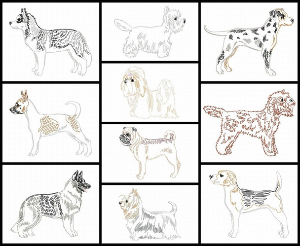 Dog Breeds Set 5 Line Art Set MACHINE EMBROIDERY DESIGN 4X4, 5X7 & 6X10