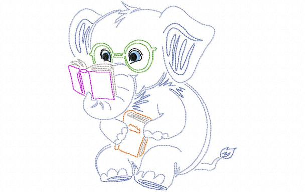 Reading Elephant Line Art Book Pillow MACHINE EMBROIDERY DESIGN 4X4, 5X7 & 6X10