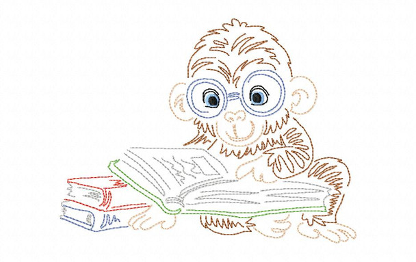 Reading Monkey Line Art Book Pillow MACHINE EMBROIDERY DESIGN 4X4, 5X7 & 6X10