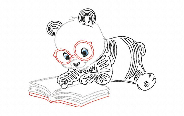 Reading Panda Line Art Book Pillow MACHINE EMBROIDERY DESIGN 4X4, 5X7 & 6X10