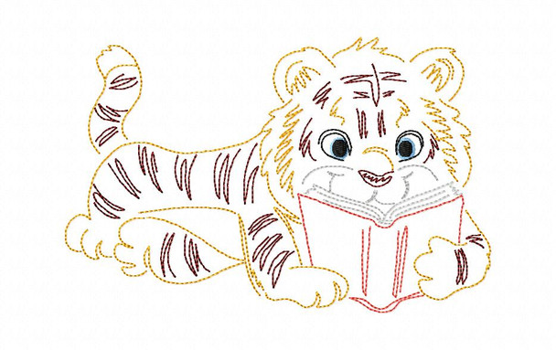 Reading Tiger Line Art Book Pillow MACHINE EMBROIDERY DESIGN 4X4, 5X7 & 6X10