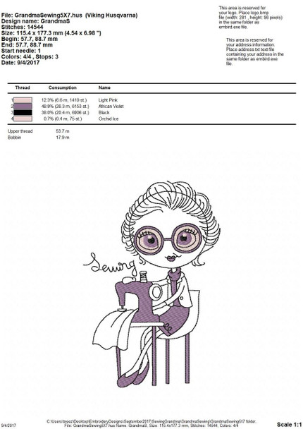 Sewing Granny Line Art MACHINE EMBROIDERY DESIGN 4X4, 5X7 & 6X10