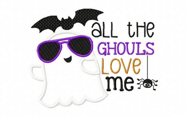 All The Ghouls Love Me Halloween Applique Word Art  MACHINE EMBROIDERY DESIGN 4X4, 5X7 & 6X10