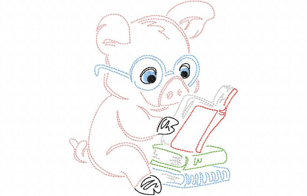 Reading Pig Line Art Book Pillow MACHINE EMBROIDERY DESIGN 4X4, 5X7 & 6X10