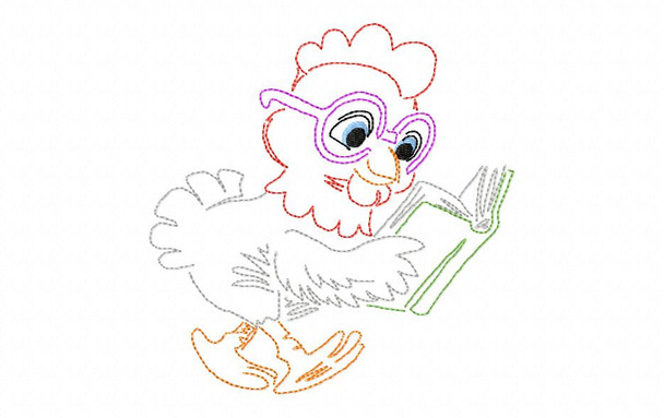 Reading Chicken Line Art Book Pillow MACHINE EMBROIDERY DESIGN 4X4, 5X7 & 6X10