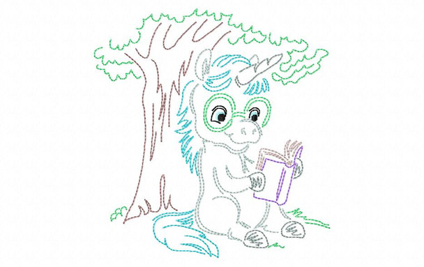 Reading Unicorn (1)  Line Art Book Pillow MACHINE EMBROIDERY DESIGN 4X4, 5X7 & 6X10