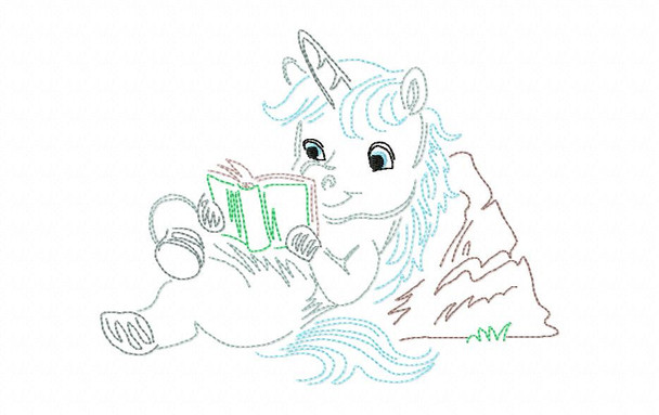 Reading Unicorn (2)  Line Art Book Pillow MACHINE EMBROIDERY DESIGN 4X4, 5X7 & 6X10