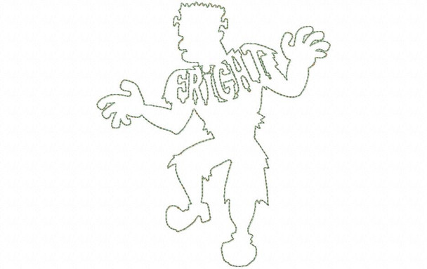 Fright Frankenstein Halloween Rough Edge Applique Line Art Silhouette MACHINE EMBROIDERY DESIGN 4X4, 5X7 & 6X10
