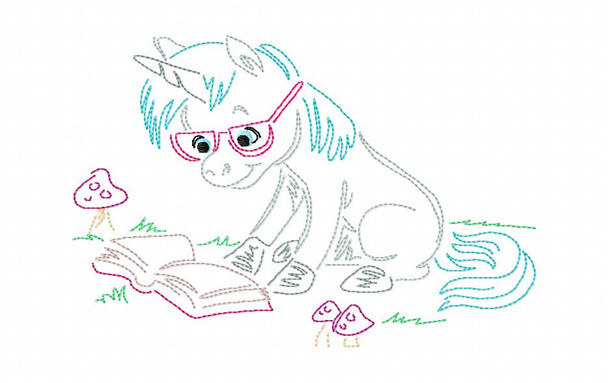 Reading Unicorn (3)  Line Art Book Pillow MACHINE EMBROIDERY DESIGN 4X4, 5X7 & 6X10