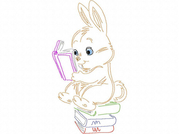 Reading Bunny Line Art Book Pillow MACHINE EMBROIDERY DESIGN 4X4, 5X7 & 6X10